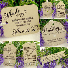 Personalized Ivory Wedding Favor Gift Tags with Thread