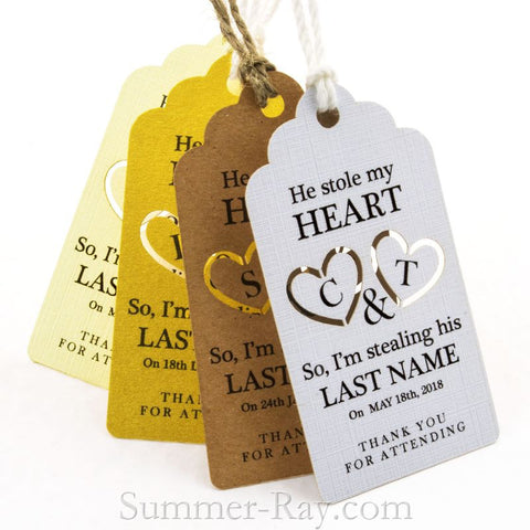 Personalized He Stole My Heart I'm Stealing His Last Name Favor Tags