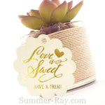 Gold Foil Hot Stamping Love is Sweet Scallop Favor Tags