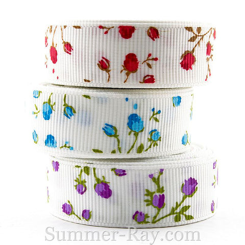 Roses Printed Grosgrain Ribbon 16 mm 25 mm 38 mm - 5 or 10 yards