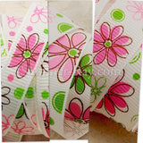 Enchanting Flower Printed Grosgrain Ribbon 10 mm 16 mm 25 mm - 5 or 10 yards