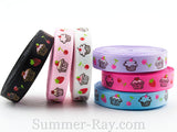 Cupcakes Printed Grosgrain Ribbon 10 mm 16 mm 25 mm 38 mm - 5 or 10 yards