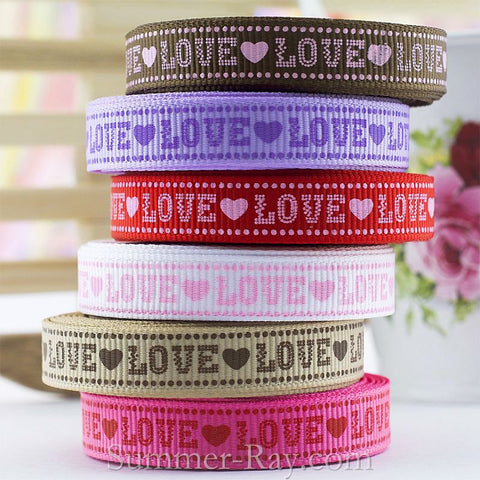 Tender Love Printed Grosgrain Ribbon 10 mm 16 mm 38 mm - 5, 10 or 25 yards