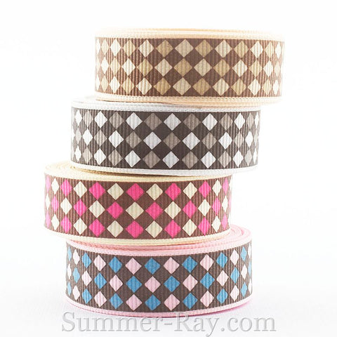 Argyle Printed Grosgrain Ribbon 10 mm 16 mm  25 mm 38 mm - 5 or 10 yards