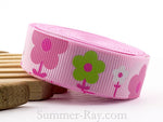 Cute Flower Printed Grosgrain Ribbon 16 mm - 5 or 10 yards