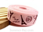 Eiffel Tower Printed Grosgrain Ribbon 10 mm 16 mm 25 mm 38 mm - 5 or 10 yards