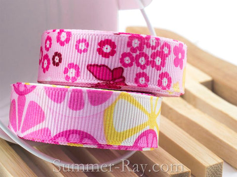 Fruit Slice and Butterfly Printed Grosgrain Ribbon 16 mm - 5 or 10 yards