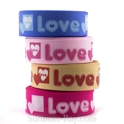 Love & Heart Printed Grosgrain Ribbon 16 mm - 5 or 10 yards