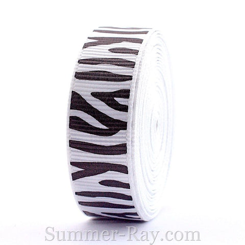 Zebra Stripe Printed Grosgrain Ribbon 16 mm - 5 or 10 yards