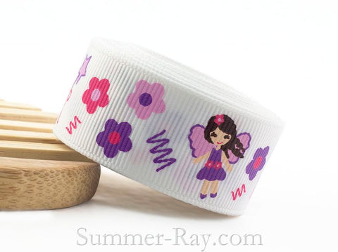 Little Fairy Girl Printed Grosgrain Ribbon 22 mm - 5 or 10 yards