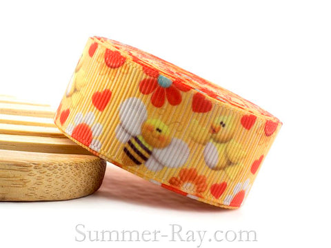 Little Birds and Bees Printed Grosgrain Ribbon 22 mm - 5 or 10 yards
