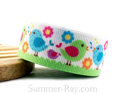 Loving Birds Printed Grosgrain Ribbon 22 mm - 5 or 10 yards