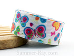 Summer Butterfly Printed Grosgrain Ribbon 22 mm - 5 or 10 yards