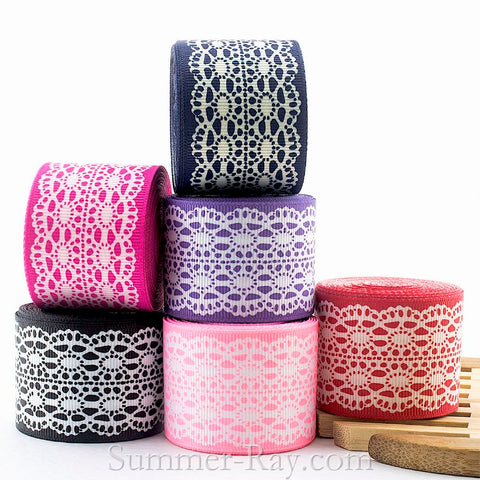 Lace Imitation Printed Grosgrain Ribbon 10 mm 16 mm 25 mm 38 mm - 5, 10 or 25 yards