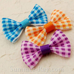 Grosgrain Ribbon Bow Colorful Checks - 100 pieces