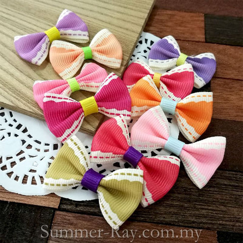 Grosgrain Ribbon Bow Girly Wave - 100 pieces