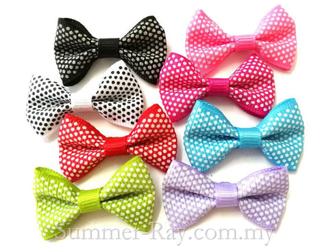 Grosgrain Ribbon Bow Mini Dots - 100 pieces