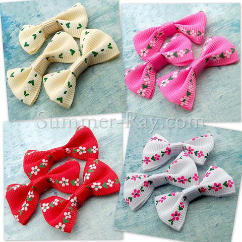 Grosgrain Ribbon Bow Mini Flower - 100 pieces