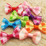 Grosgrain Ribbon Bow Colorful Plaids - 100 pieces