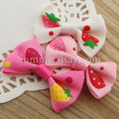 Grosgrain Ribbon Bow Strawberry - 100 pieces