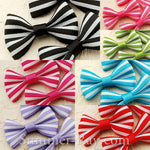 Grosgrain Ribbon Bow Colorful Stripes - 100 pieces