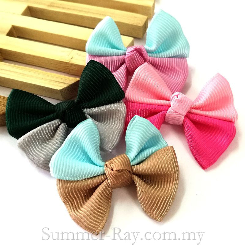 Grosgrain Ribbon Colorful Double Bow - 50 pieces