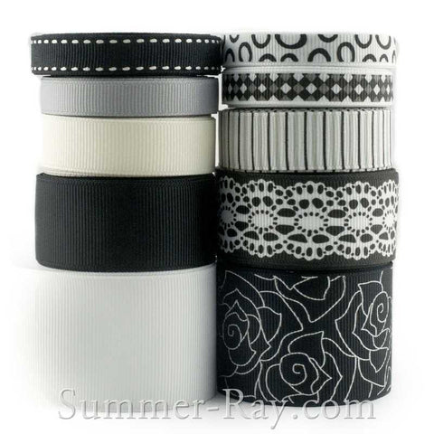 Grosgrain Ribbon Black & White Mix 10 mm 16 mm 25 mm 38 mm - 45 yards