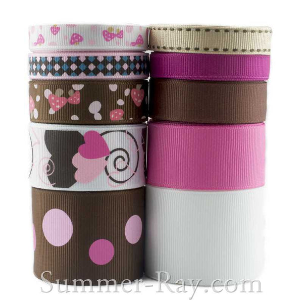 Grosgrain Ribbon Brown Pink & White Mix 10 mm 16 mm 25 mm 38 mm - 45 yards