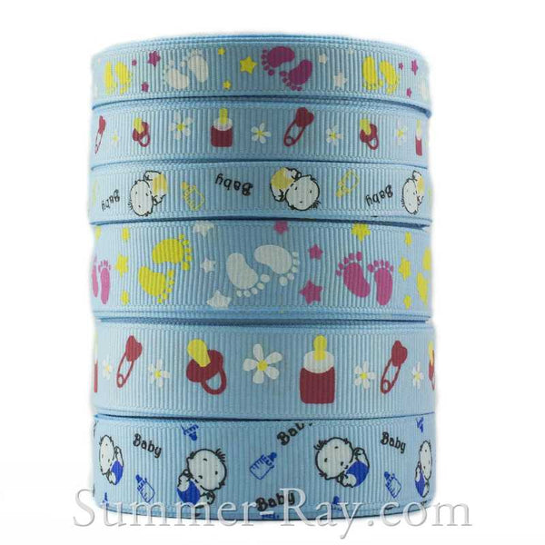 Grosgrain Ribbon Blue Baby Themed Mix 10 mm 16 mm - 60 yards