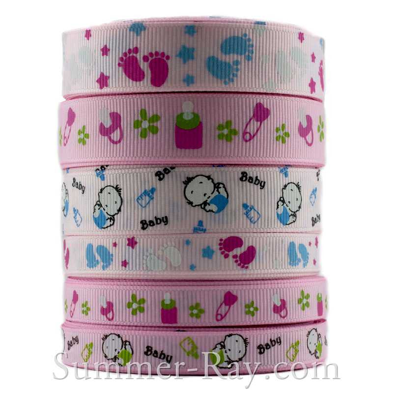 Grosgrain Ribbon Pink Baby Themed Mix 10 mm 16 mm - 60 yards