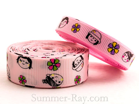 Happy Girl Printed Grosgrain Ribbon 10 mm and 16 mm - 5 or 10 yards