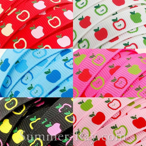 Apple Printed Grosgrain Ribbon 10 mm 16 mm 38 mm - 5, 10 or 25 yards