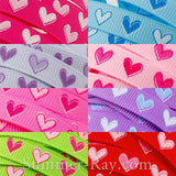 Ardent Heart Printed Grosgrain Ribbon 10 mm 16 mm - 5, 10 or 25 yards