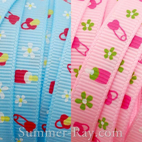 Baby Shower Printed Grosgrain Ribbon 10 mm 16 mm - 5 or 10 yards