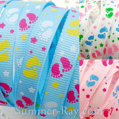 Baby Feet Printed Grosgrain Ribbon 10 mm - 5 or 10 yards