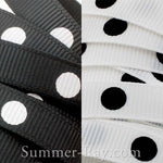 Mono Dots Printed Grosgrain Ribbon 10 mm - 5, 10 or 25 yards