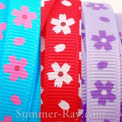 Musk Mallow Printed Grosgrain Ribbon 10 mm - 5, 10 or 25 yards