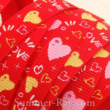 Sparkling Heart Printed Grosgrain Ribbon 10 mm - 5 or 10 yards