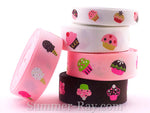 Colorful Cupcakes Printed Grosgrain Ribbon 10 mm 16 mm - 5, 10 or 25 yards