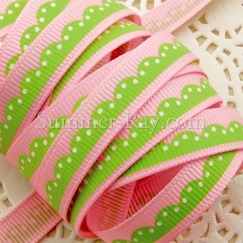 Ripple Dot Printed Grosgrain Ribbon 10 mm - 5 or 10 yards