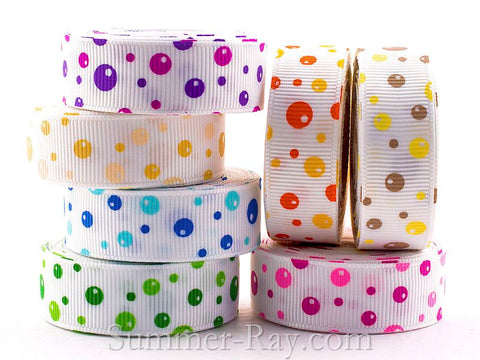 Bubble Dot Printed Grosgrain Ribbon 16 mm - 5, 10 or 25 yards