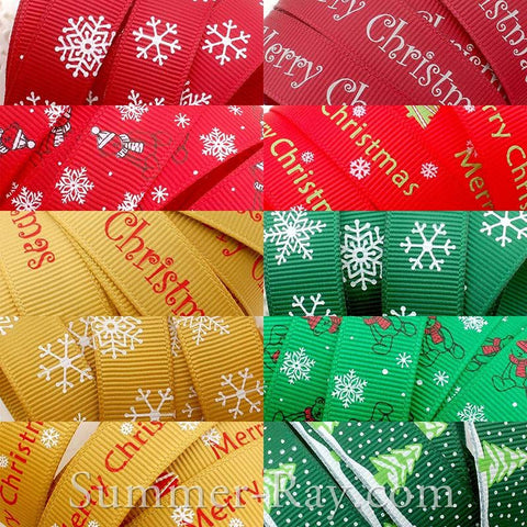 Christmas Printed Grosgrain Ribbon 16 mm - 5, 10 or 25 yards