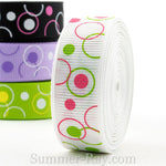 Circles and Dots Printed Grosgrain Ribbon 10 mm 16 mm - 5, 10 or 25 yards