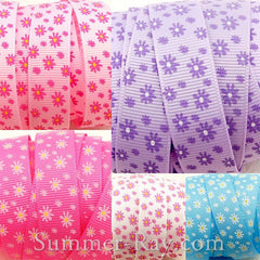 Daisy Flower Printed Grosgrain Ribbon 16 mm - 5, 10 or 25 yards