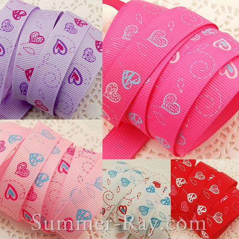 Doodle Heart Printed Grosgrain Ribbon 10 mm 16 mm 38 mm - 5 or 10 yards