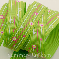 Dots and Lines Printed Grosgrain Ribbon 10 mm 16 mm 38 mm - 5, 10 or 25 yards