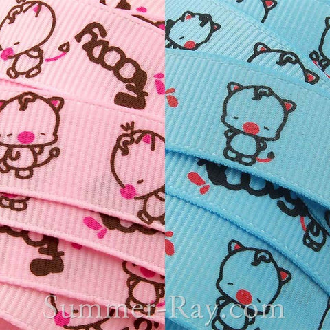 Foody Pig Printed Grosgrain Ribbon 16 mm - 5, 10 or 25 yards