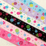 Lollipop Printed Grosgrain Ribbon 10 mm 16 mm 25 mm 38 mm - 5, 10 or 25 yards