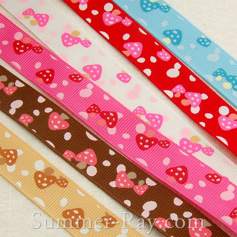 Mushroom Printed Grosgrain Ribbon 10 mm 16 mm 25 mm 38 mm - 5 or 10 yards