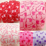 Random Heart Printed Grosgrain Ribbon 10 mm 16 mm 38 mm - 5, 10 or 25 yards
